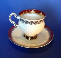 Elizabethan Pedestal Tea Cup And Saucer - Dark Red And Gold Borders - England