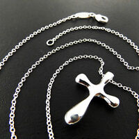 A881 GENUINE REAL 925 STERLING SILVER S/F CLASSIC CROSS PENDANT NECKLACE CHAIN