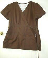 Koi Womens Scrub Top Medium V-neck Mock Wrap Brown Style# 137