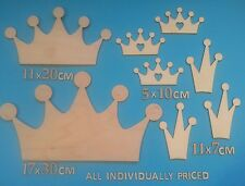 Blank WOODEN Shapes CROWNS also Birds Trees Animals Xmas LASER CUT 10/20/30cm