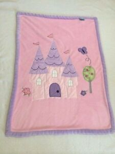 Tiddliwinks Princess Castle Butterfly Pink Purple Baby Girl Blanket Applique