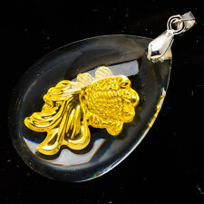 "24K Yellow Gold .999 Teardrop Auspicious Goldfish Crystal Pendant 1 1/2"" Jewelry"