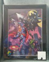 DC Batman Superman Joker Lex 3D 3-dimensional art print matted 14×11