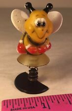 HONEY BEE CARTOON FIGURE SOFT RUBBER BEE MOUNTED ON A PLASTIC STAND & SPRING