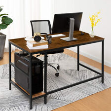 New listing Industrial Computer Desk W/2 Storage Shelves Home Office Study Work Gaming