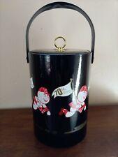 "Vintage 1974 Cincinnati Reds Ice Bucket/Cooler w/ ""Mr. Red"" Logo, Black Vinyl"