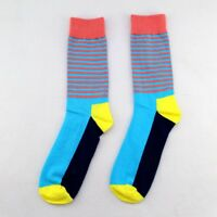 NEW BRAND 3 Pairs Mens Cotton HAPPY Socks Striped Colorful Casual Dress Socks