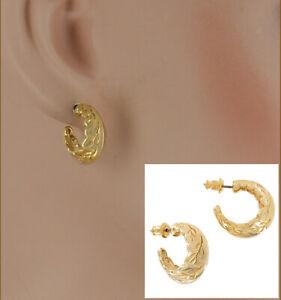 Pierced Small Huggie Hoop Yellow Gold Tone Leaf Earrings