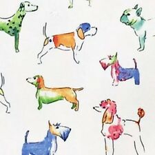 Cynthia Rowley Colorful Watercolor Dog Tablecloth Indoor Outdoor Fabric 70 Round