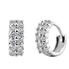 Korean fashion hypoallergenic Charm Double White Clear CZ Crystal Hoop Earrings