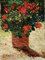 ANDRE DLUHOS ORIGINAL OIL PAINTING Still Life Garden Flowers Red Blooms Sun Vase