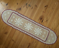Cotton Hand Crochet Lace Placemat Table Runner Oval 38x140CM Beige Maroon Edging