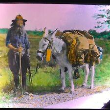 Vtg Magic Lantern Glass Slide Photo Nova Scotia 1920s Man And Pack Mule Color