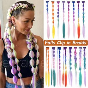 Coachella Festival Braids 18inch ColoUred FALLS Clip In Braiding Hair Extensions