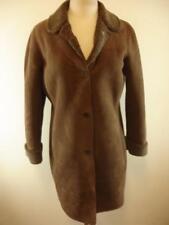 Womens M Lands' End brown faux suede leather sheepskin shearling fur jacket coat