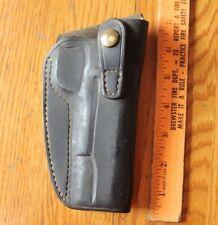 Leather right handed revolver pistol gun holster black vintage semi automatic
