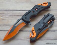8 INCH TACFORCE EMT SPRING ASSISTED TACTICAL RESCUE KNIFE WITH POCKET CLIP