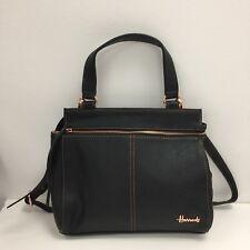 HARRODS Black Leather Shoulder Tote Handbag Everyday Ladies 37592