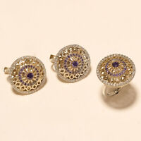 Natural Purple Zircon Ring Earrings 925 Sterling Silver Two Tone Turkish Jewelry