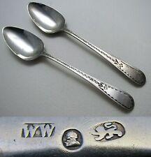 PAIR Provincial c1790 Georgian-George III Exeter SILVER Tea Spoons William Welch