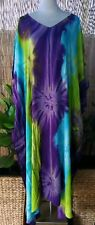 Plus Size Long Purple- Blue- Green Tie Dye Maxi Kaftan -Dress Size 20-22-24-26