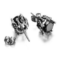 2pcs Mens Womens Hypoallergenic Stainless Steel Stud Earrings w Cubic Zirconia