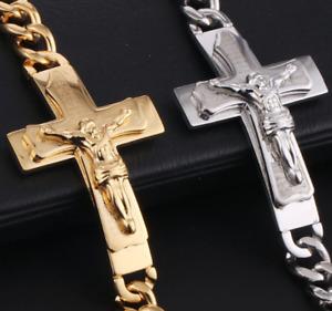 14k Gold / White Stainless Steel Silver Crucifix Jesus Cross Cuban Link Bracelet