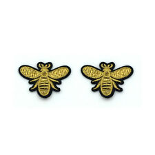 2×Iron on Sewing Patch Embroidered Emblem Cloth Applique Flying Yellow Honey Bee