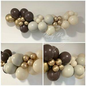 Balloon Garland DIY Kit - Mocha Latte Choc Brown & Gold 1.7m - Wedding Birthday