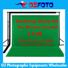 Photography Photo Background Backdrop Stand Two 3 x 6M Muslin Kit Set NEW