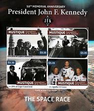 Mustique Granadinas 2013 Mnh Presidente John F Kennedy 50º Memorial 4v m/s Jfk