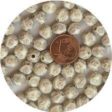 208163*** 30 PERLES  RÉSINE STYLE ETHNIQUE 8x7mm BLANC CASSÉ
