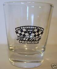AUTO RACING NO PROBLEM  LOGO ON CLEAR SHOT GLASS