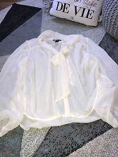 blouse top tunique haut chemise Taille  38 NEUF écru transparent voile  h&m