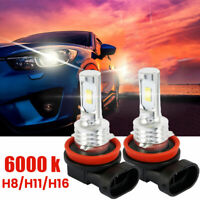 2x H11 H8 H9 H16 LED Headlight Bulbs Kit High/Low Beam Fog Light OEM 100W 6000K
