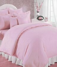 100% Cotton Double Bedsheet with 2 Pillow Covers Pink Satin Striped Bedsheet