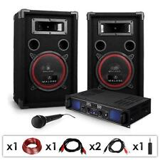 DJ PA Karaoke Anlage Passiv Lautsprecher Paar Verstärker Set 400W Party Sound