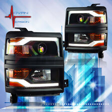 WINJET 2014-2015 Chevy Silverado Projector Headlights DRL LED All  Black Trim