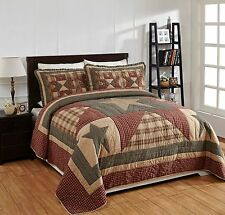 3Pc Plymouth Queen Patchwork Star Quilt Set Bedding Package. Country Quilt