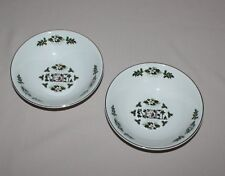2 Noel Cereal Bowls Wood & Sons Christmas Holly White Flowers Gold Trim England