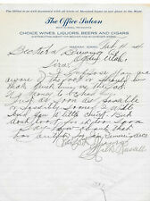 The Office Saloon, Mackay, Idaho Old Antique Letter/Bill from Bar, 1914