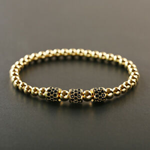 New Luxury Zircon Cylinder Copper Bead Macrame Adjustable Men's Bracelets Gift