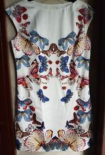 CĖLINE BUTTERFLY PRINTED SLEEVELESS COCKTAIL DRESS, SIZE large