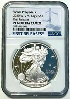 2020 W Proof Silver Eagle End of World War II V75 Privy NGC PF69 First Releases