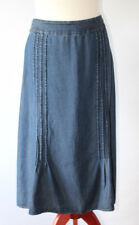 EAST Cotton Skirt Denim Look Midi Length Pintuck Detail Blue Plus Size UK 18
