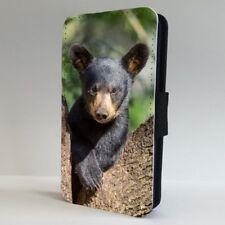 Black Bear Cub naturaleza salvaje Teléfono Abatible Estuche Cubierta para IPHONE SAMSUNG