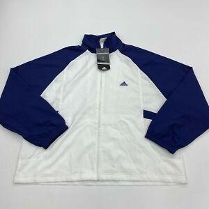 NWT Adidas Windbreaker Tennis Jacket Womens XL Navy White Full Zip Raglan Sleeve
