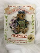 Boyds Bears Brooch Pin Iris Bear Floral Collectable Gift Stocking Stuffer Flower