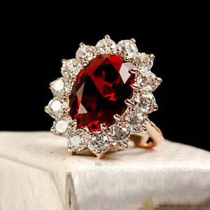 Gorgeous 3Ct Oval Cut Red Garnet Diamond Halo Engagement Ring 14K Rose Gold Over