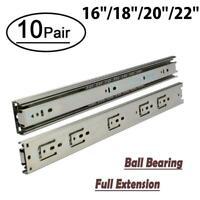 Pack of 10pairs Drawer Slides Rail Side Mount Full Extension Ball Bearing Runner